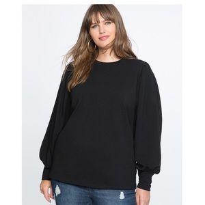 Eloquii Puff Sleeve Black Shirt, Plus Size